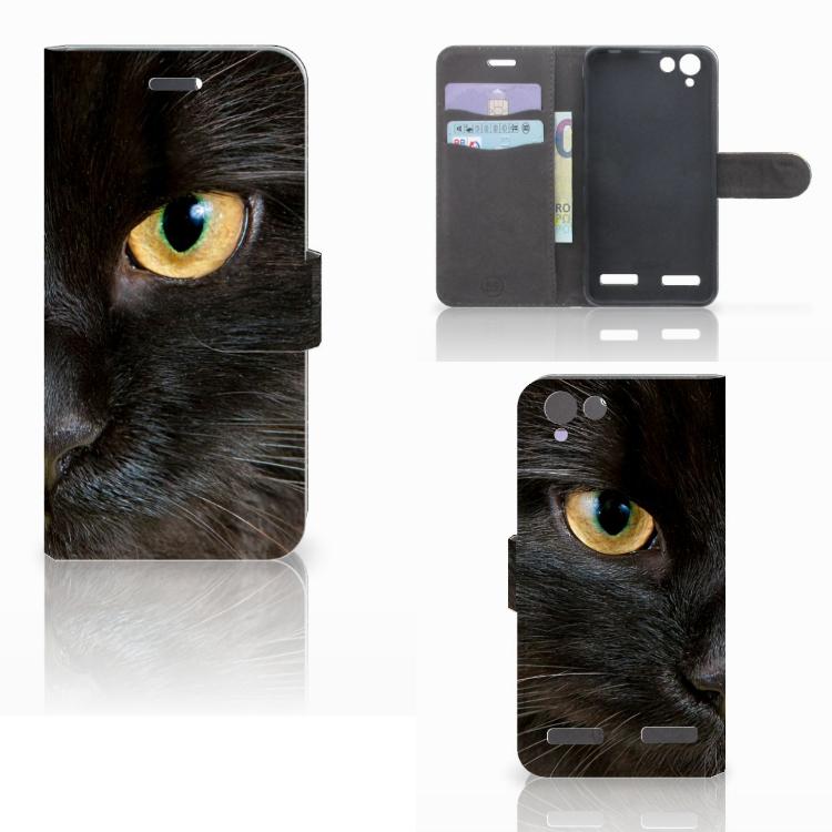 Lenovo Vibe K5 Telefoonhoesje met Pasjes Zwarte Kat