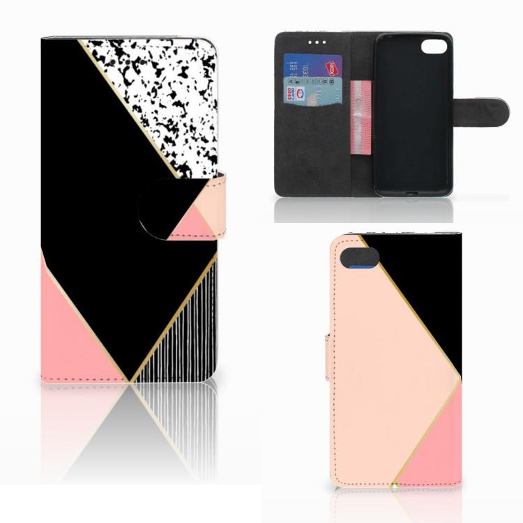 Huawei Y5 2018 Bookcase Zwart Roze Vormen