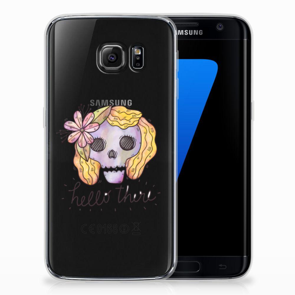 Silicone Back Case Samsung Galaxy S7 Edge Boho Skull