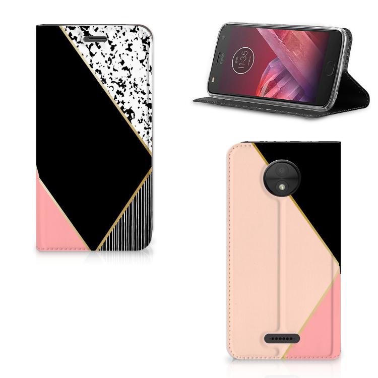 Motorola Moto C Stand Case Zwart Roze Vormen