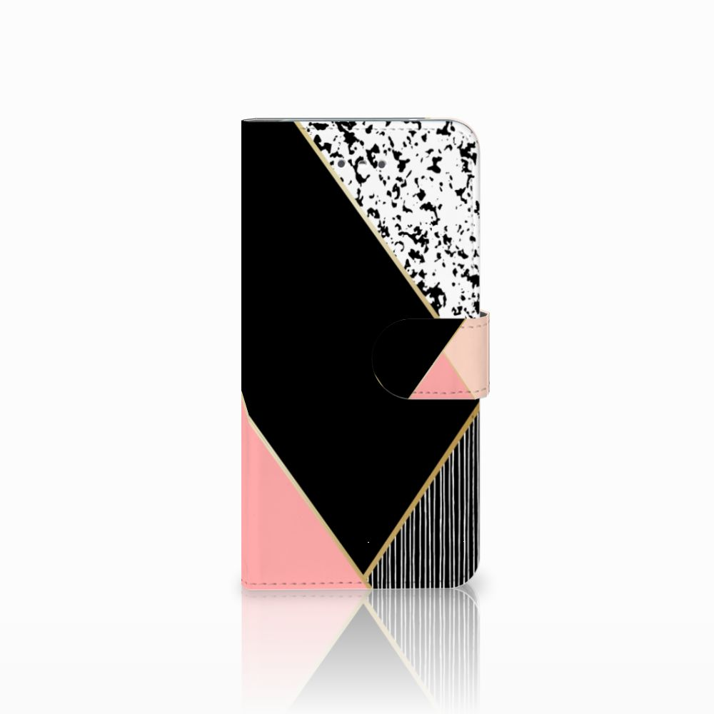 LG Nexus 5X Uniek Boekhoesje Black Pink Shapes