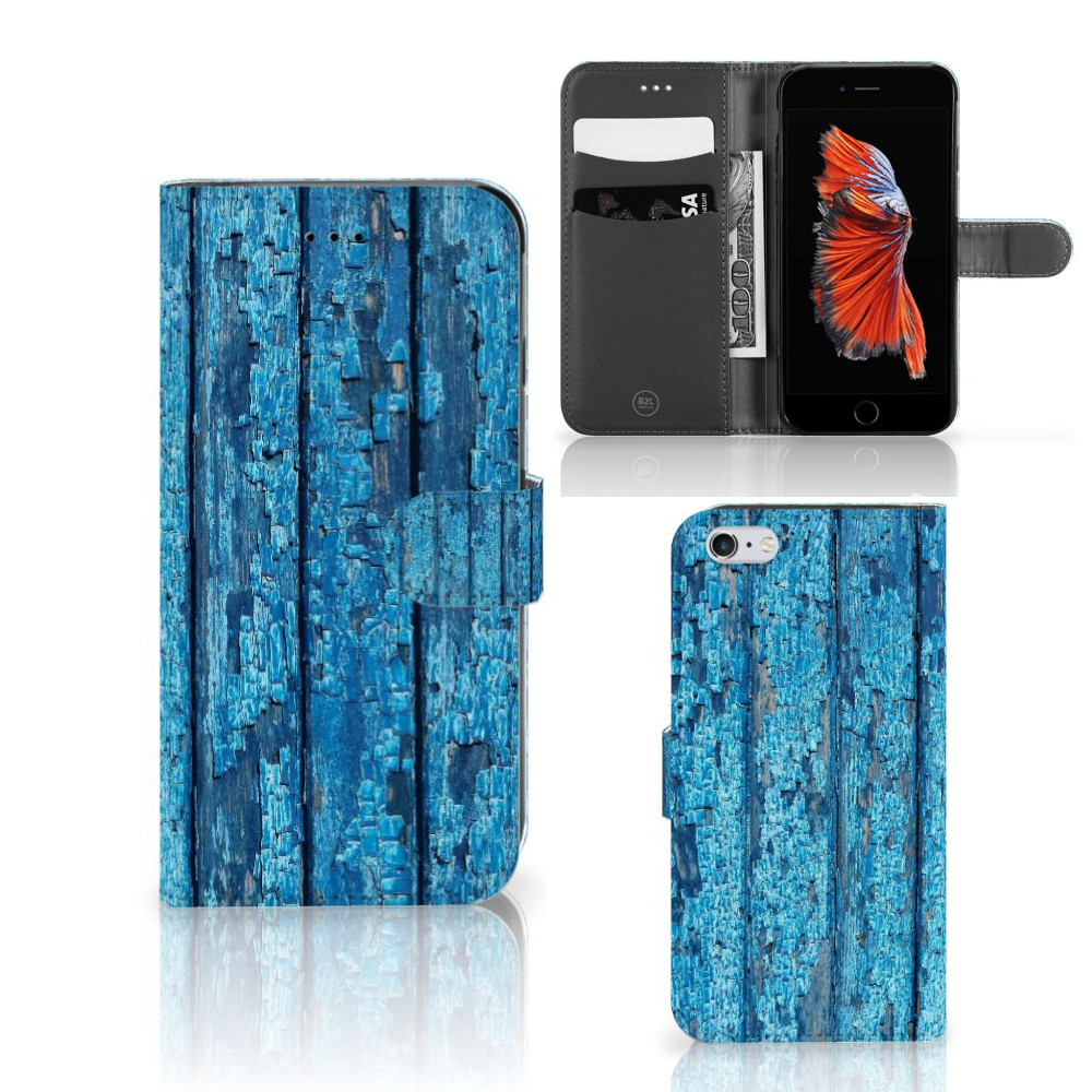 Apple iPhone 6 Plus | 6s Plus Book Style Case Wood Blue