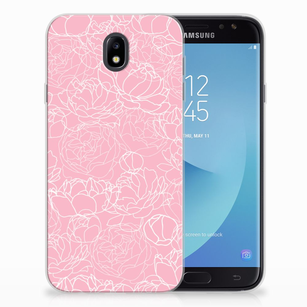 Samsung Galaxy J7 2017 | J7 Pro Siliconen Hoesje White Flowers