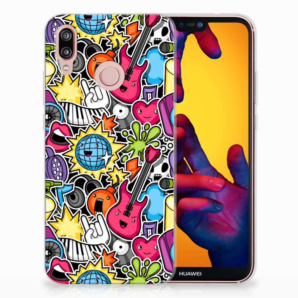 Huawei P20 Lite Uniek TPU Hoesje Punk Rock
