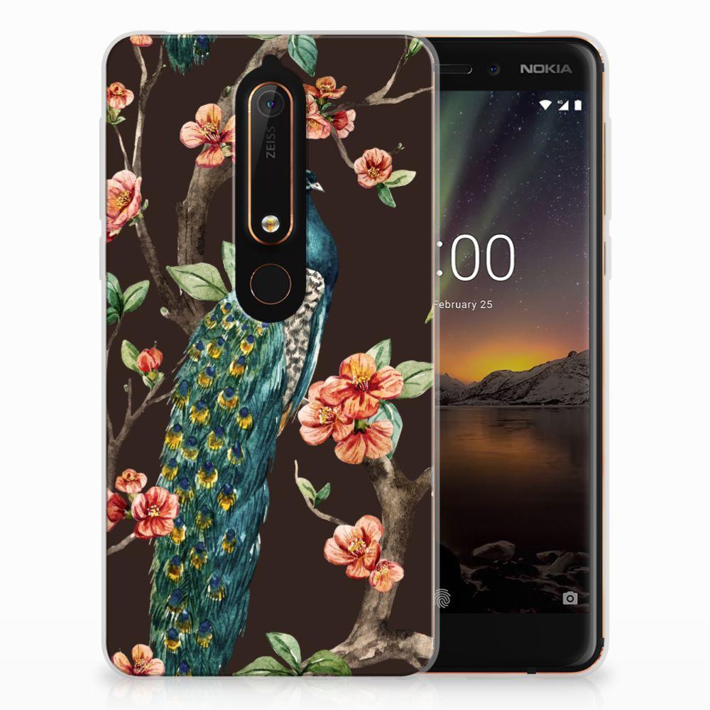 Nokia 6 (2018) TPU Hoesje Design Pauw met Bloemen