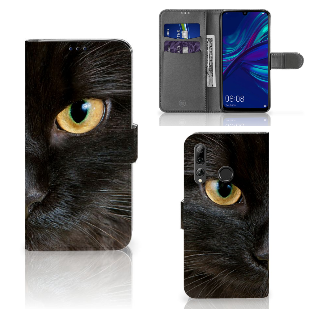 Huawei P Smart 2019 Telefoonhoesje met Pasjes Zwarte Kat