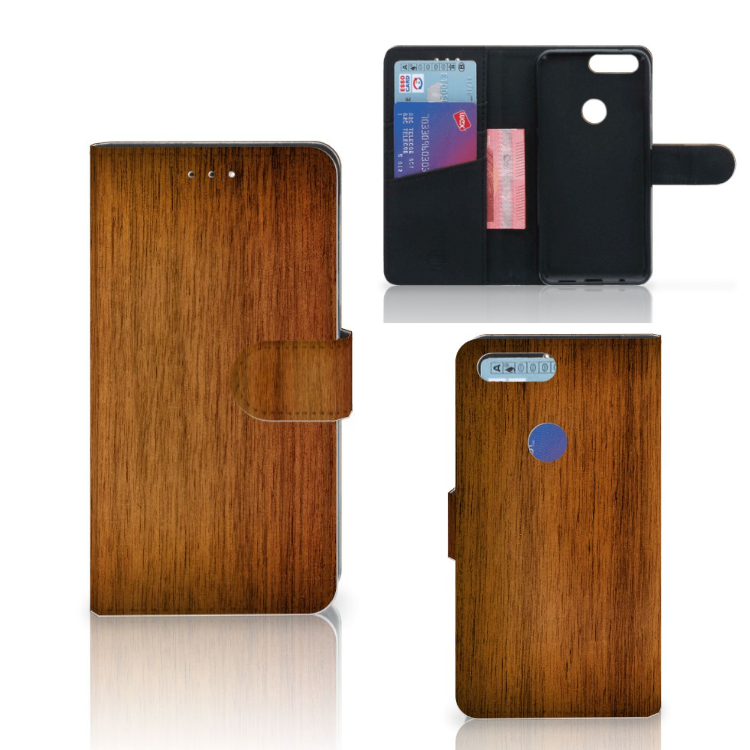 OnePlus 5T Book Style Case Donker Hout