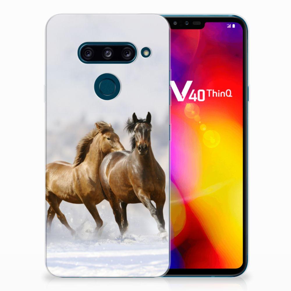 LG V40 Thinq Uniek TPU Hoesje Paarden
