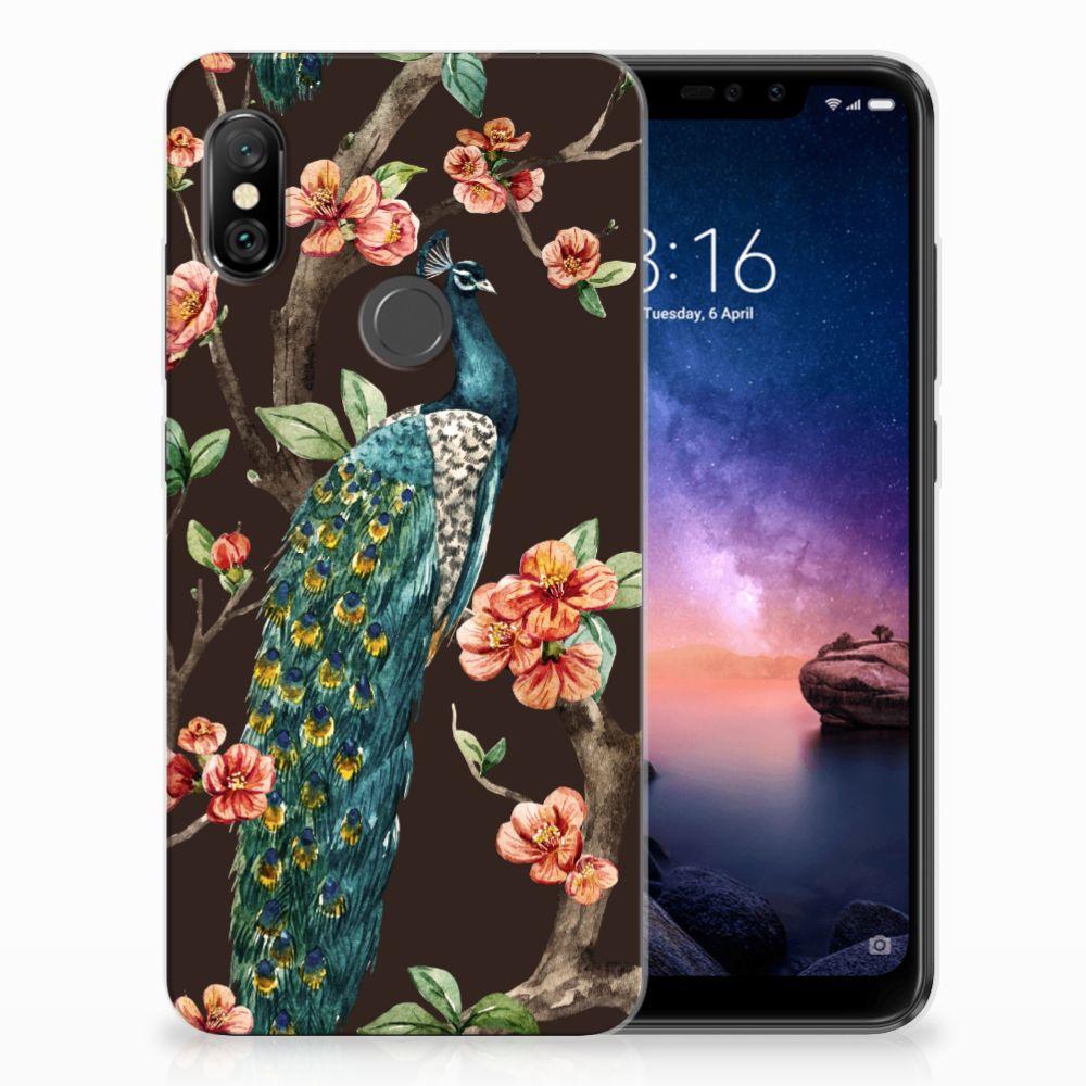 Xiaomi Redmi Note 6 Pro TPU Hoesje Design Pauw met Bloemen