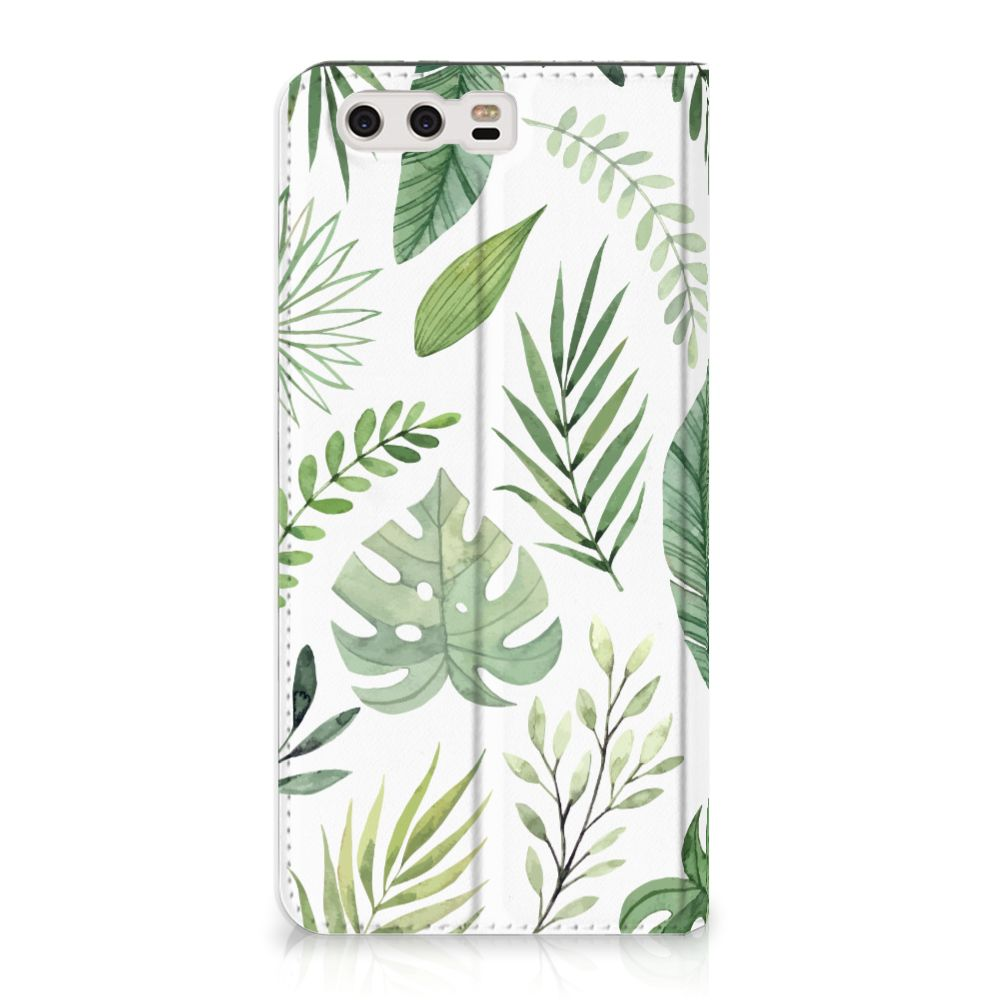 Huawei P10 Plus Uniek Standcase Hoesje Leaves