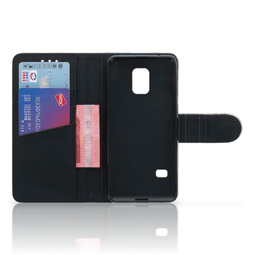 Samsung Galaxy S5 Mini Telefoonhoesje met Pasjes Baby Luipaard