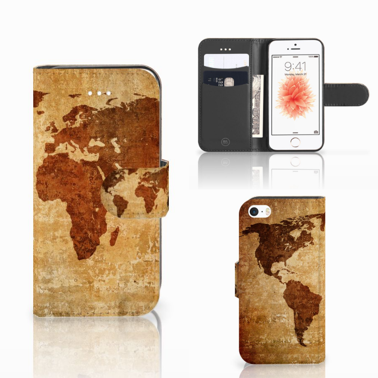 Apple iPhone 5 | 5s | SE Flip Cover Wereldkaart