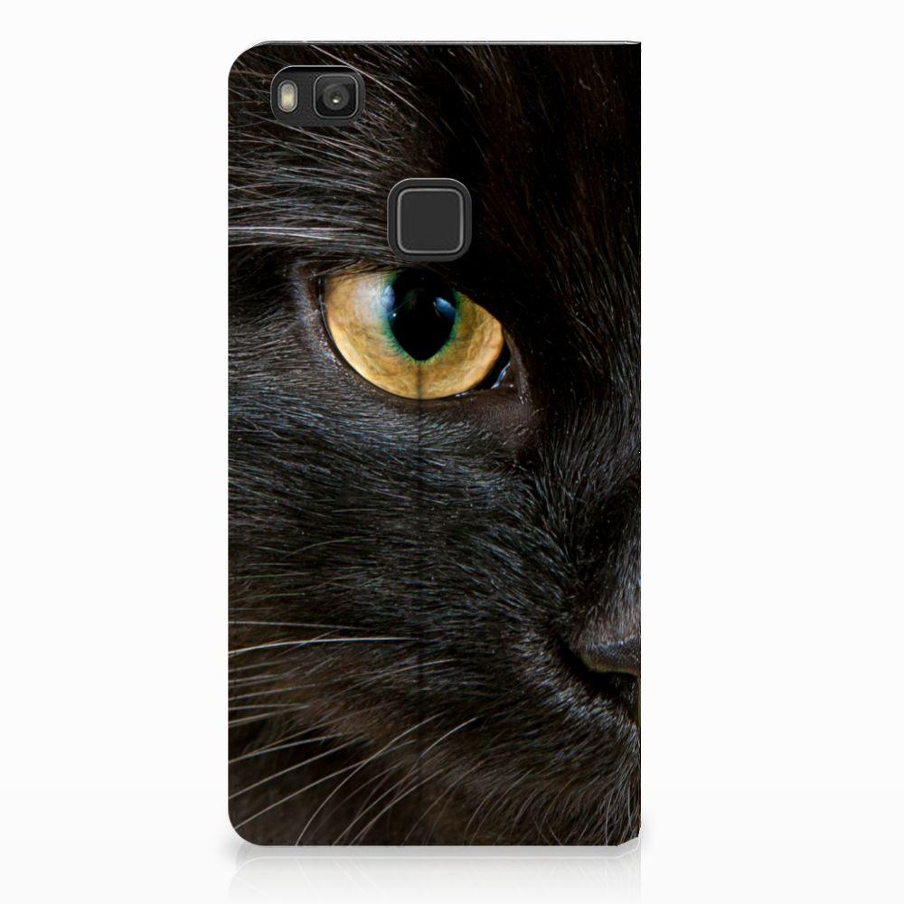 Huawei P9 Lite Uniek Standcase Hoesje Zwarte Kat