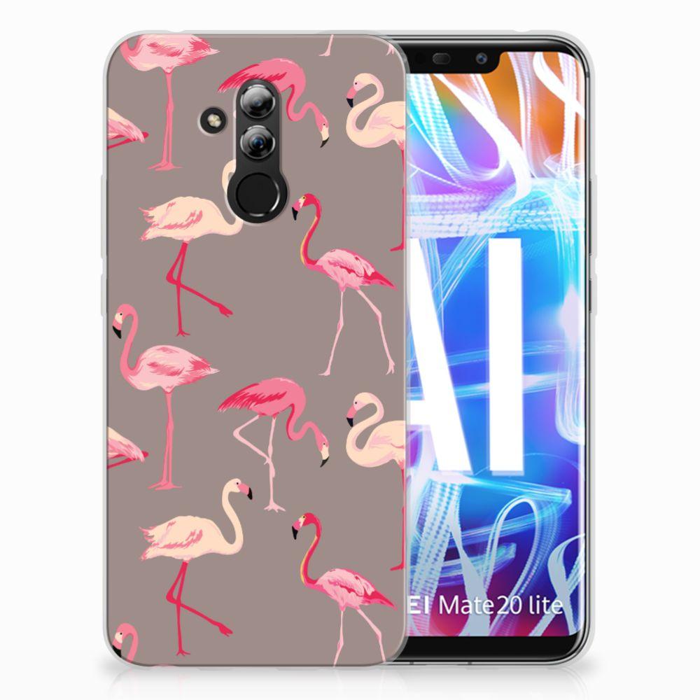 Huawei Mate 20 Lite Uniek TPU Hoesje Flamingo
