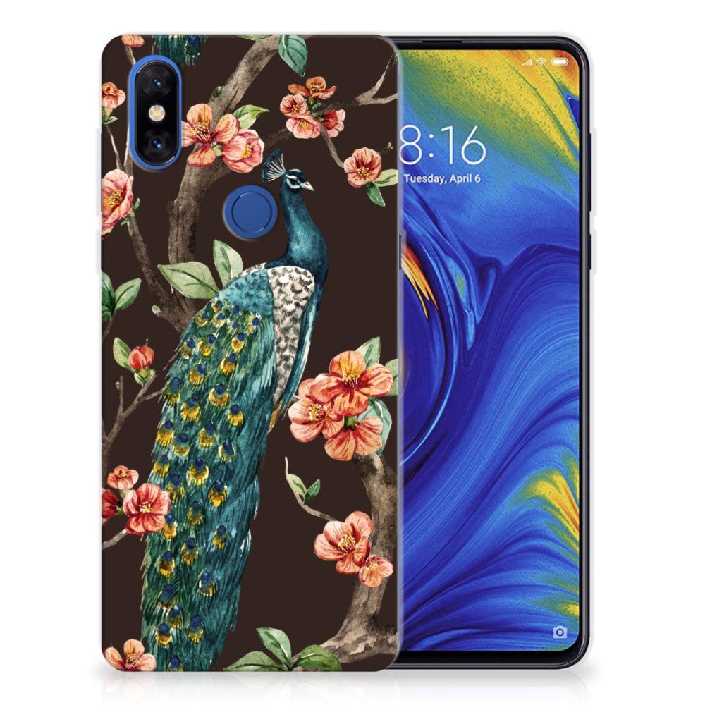 Xiaomi Mi Mix 3 TPU Hoesje Pauw met Bloemen