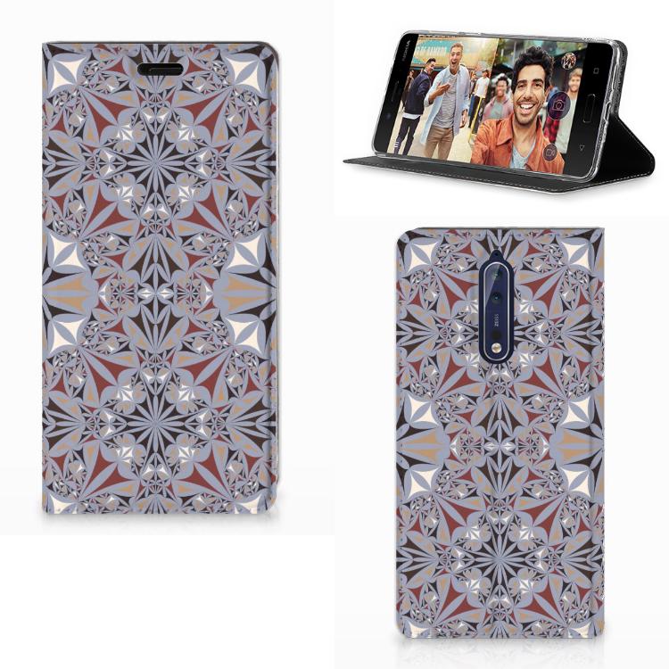 Nokia 8 Standcase Flower Tiles