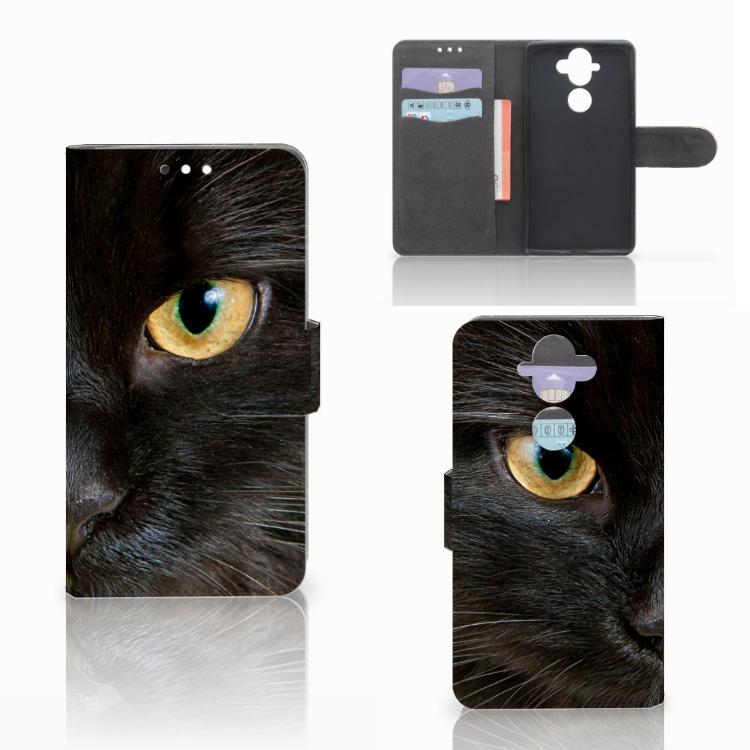 Nokia 8 Sirocco | Nokia 9 Telefoonhoesje met Pasjes Zwarte Kat
