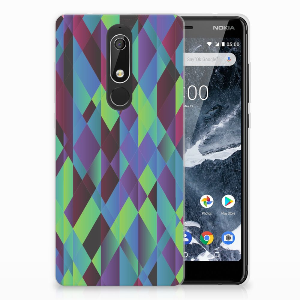 Nokia 5.1 (2018) TPU Hoesje Abstract Green Blue