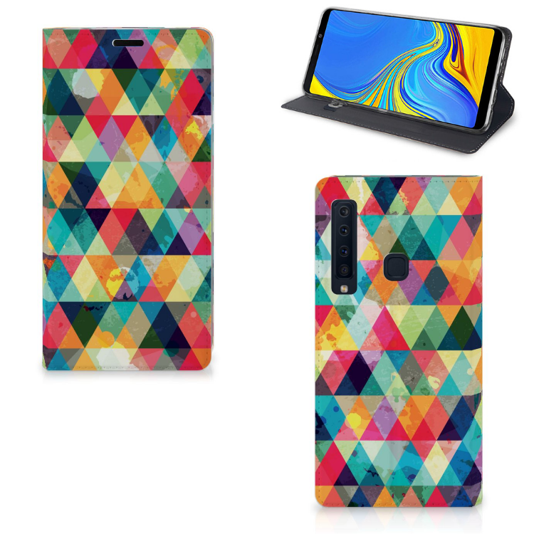 Samsung Galaxy A9 (2018) Hoesje met Magneet Geruit
