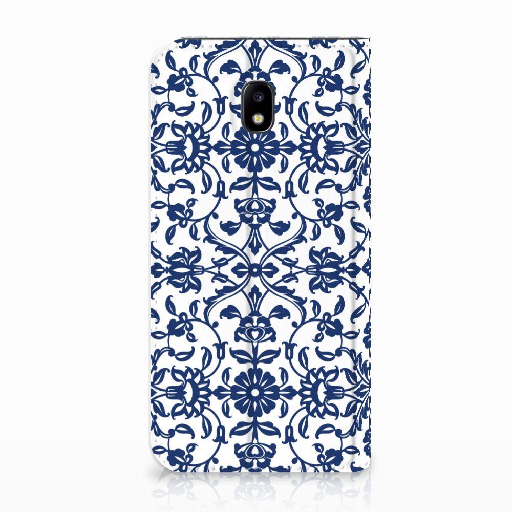 Samsung Galaxy J5 2017 Uniek Standcase Hoesje Flower Blue