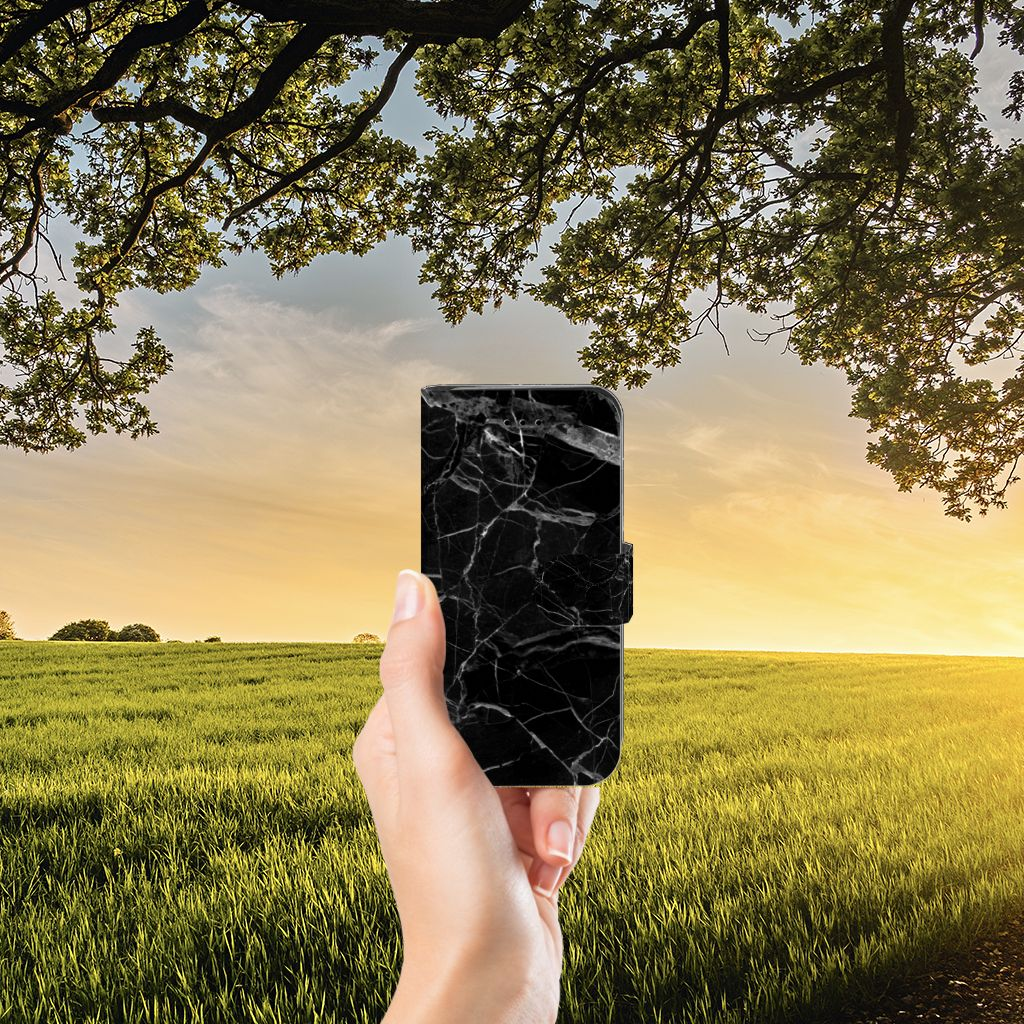 iPhone 7 | 8 | SE (2020) Bookcase Marmer Zwart - Origineel Cadeau Vader