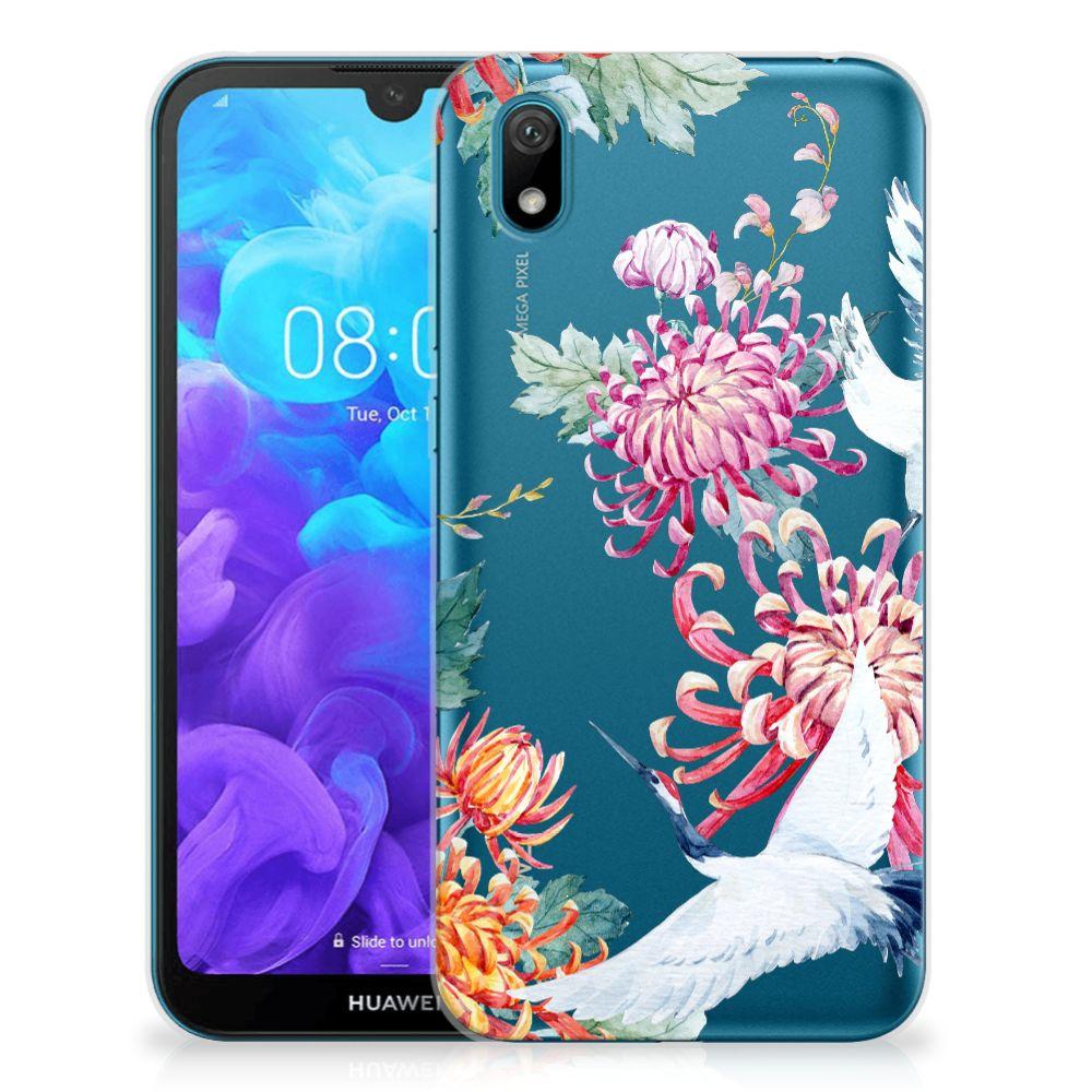 Huawei Y5 (2019) TPU Hoesje Bird Flowers