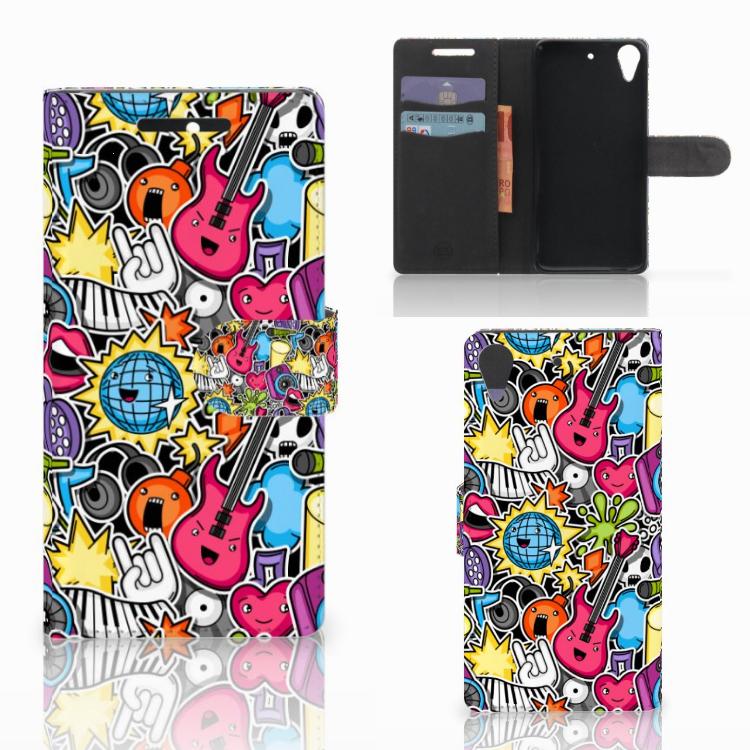 HTC Desire 628 Wallet Case met Pasjes Punk Rock
