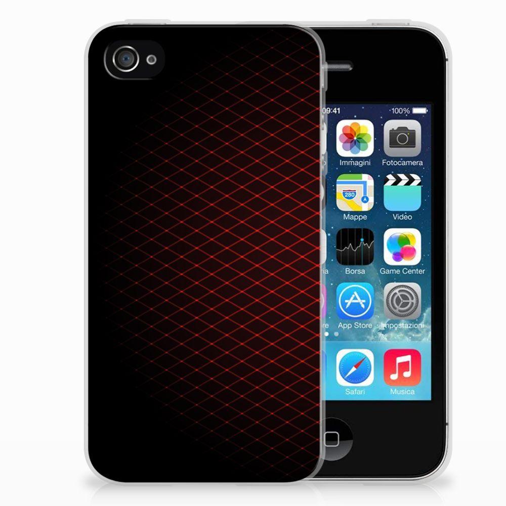 Apple iPhone 4   4s Uniek TPU Hoesje Geruit Rood