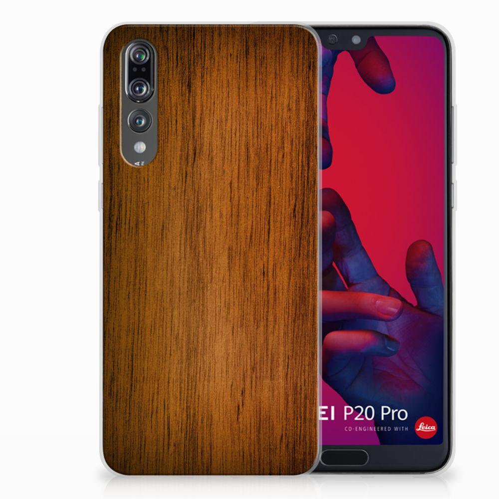 Huawei P20 Pro Uniek TPU Hoesje Donker Hout