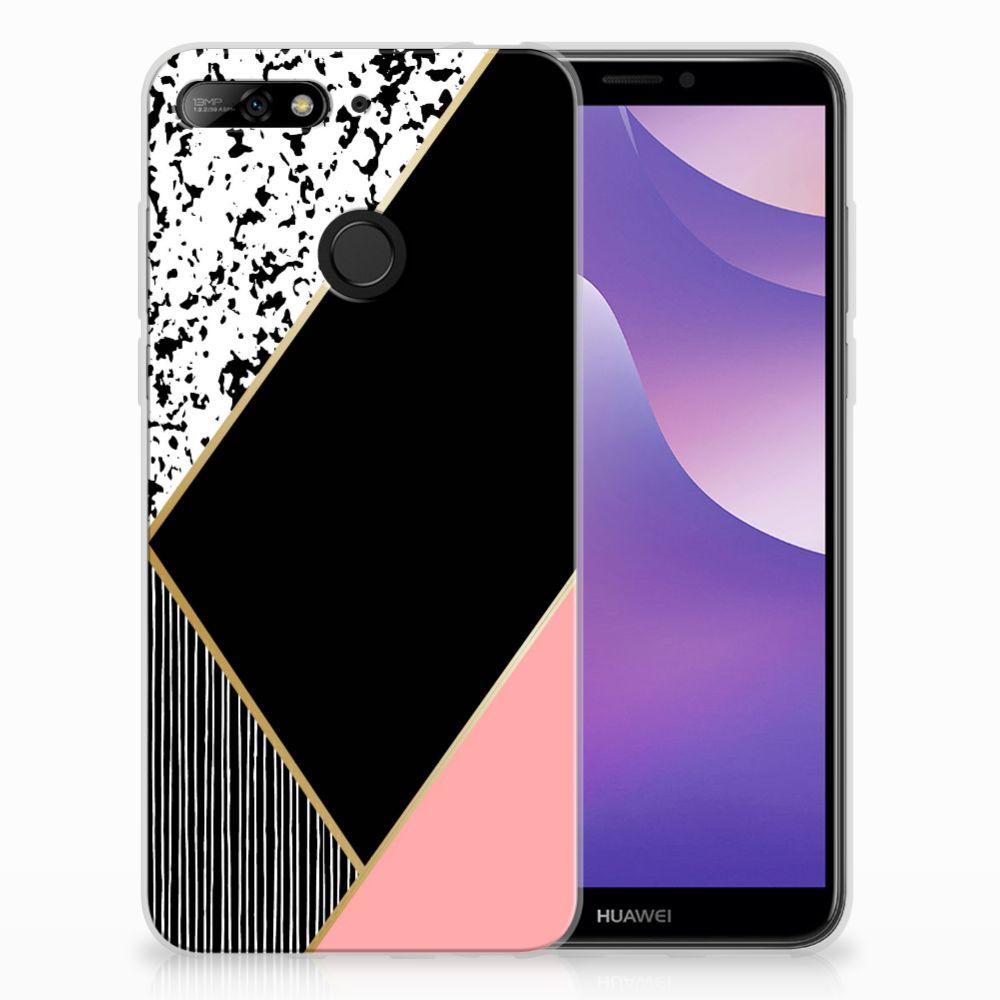 Huawei Y6 (2018) TPU Hoesje Zwart Roze Vormen