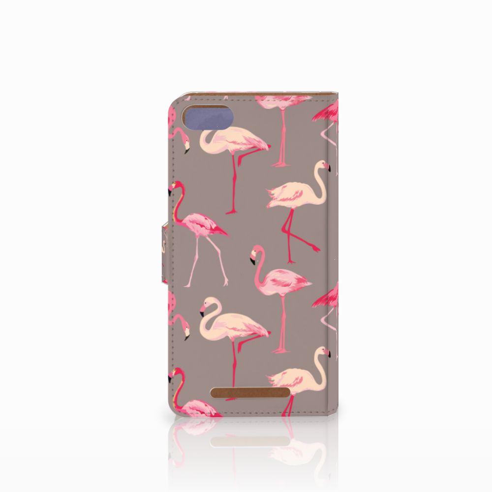 Wiko Lenny 3 Telefoonhoesje met Pasjes Flamingo