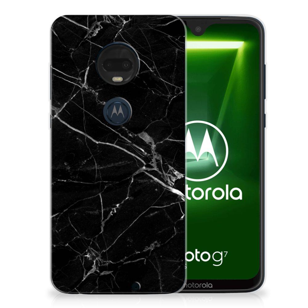 Motorola Moto G7   G7 Plus TPU Siliconen Hoesje Marmer Zwart
