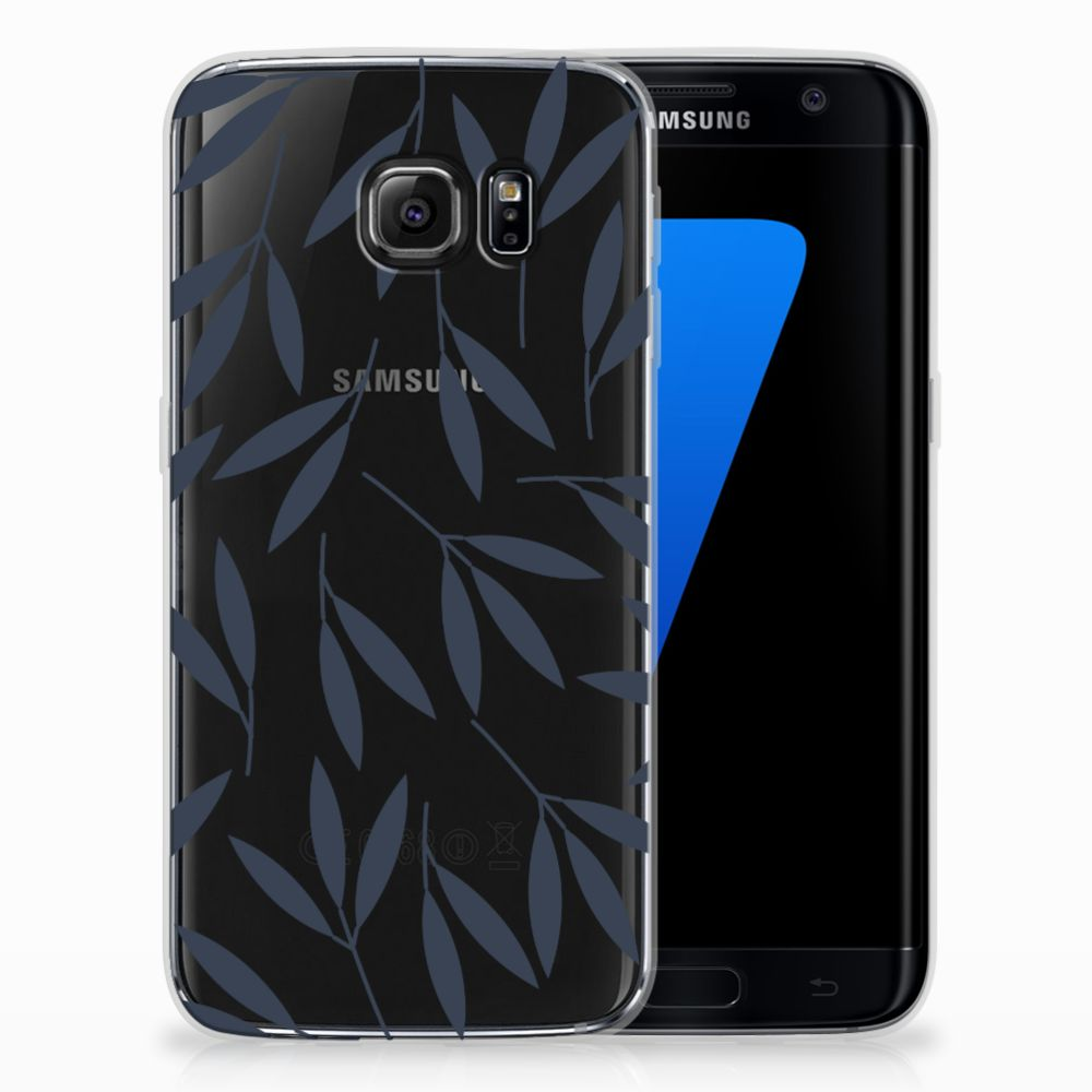 Samsung Galaxy S7 Edge TPU Hoesje Design Leaves Blue