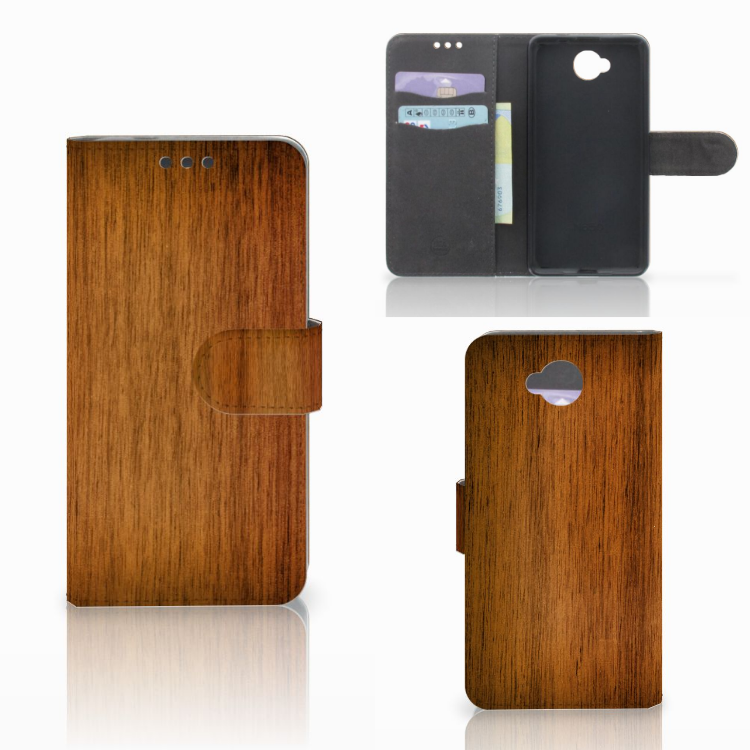 Microsoft Lumia 650 Book Style Case Donker Hout