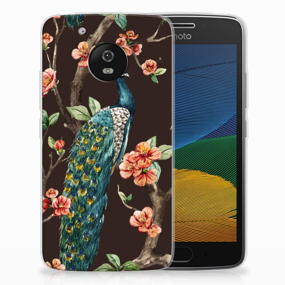Motorola Moto G5 TPU Hoesje Design Pauw met Bloemen