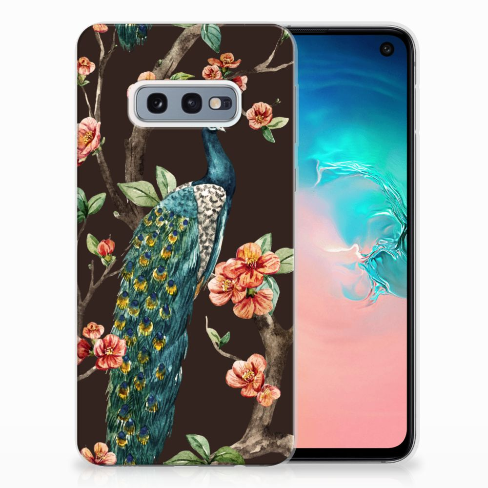 Samsung Galaxy S10e TPU Hoesje Design Pauw met Bloemen