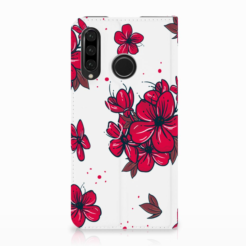 Huawei P30 Lite Standcase Hoesje Design Blossom Red