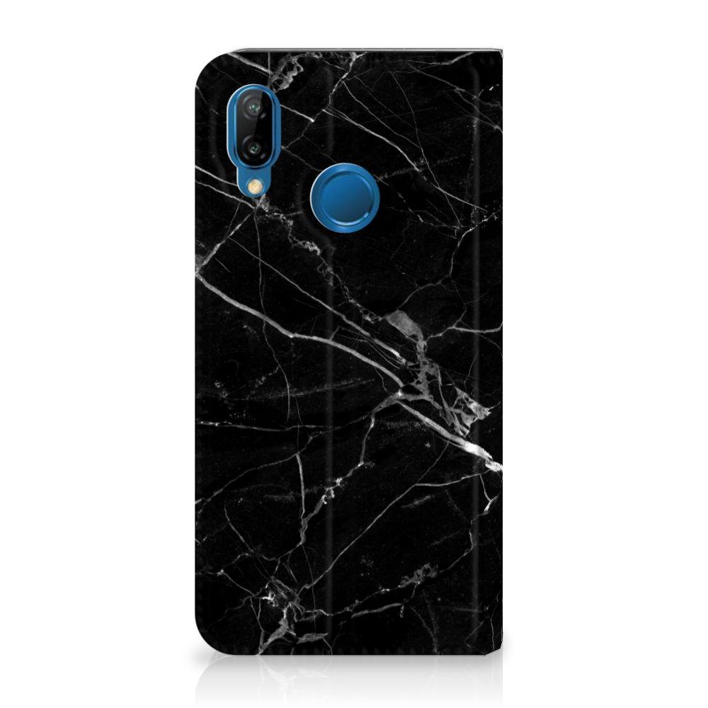 Huawei P20 Lite Uniek Standcase Hoesje Marmer Zwart