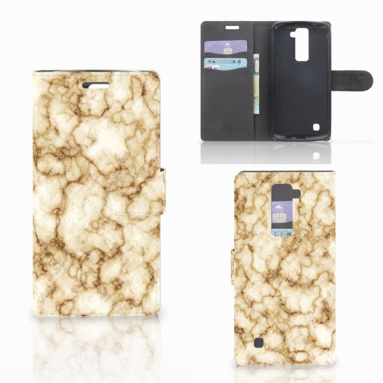 LG K10 2015 Bookcase Marmer Goud