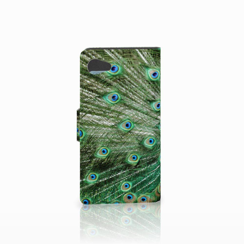 Sony Xperia Z5 Compact Telefoonhoesje met Pasjes Pauw