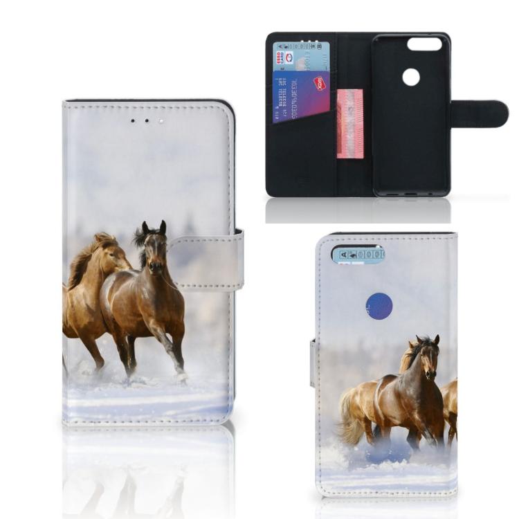 OnePlus 5T Telefoonhoesje met Pasjes Paarden