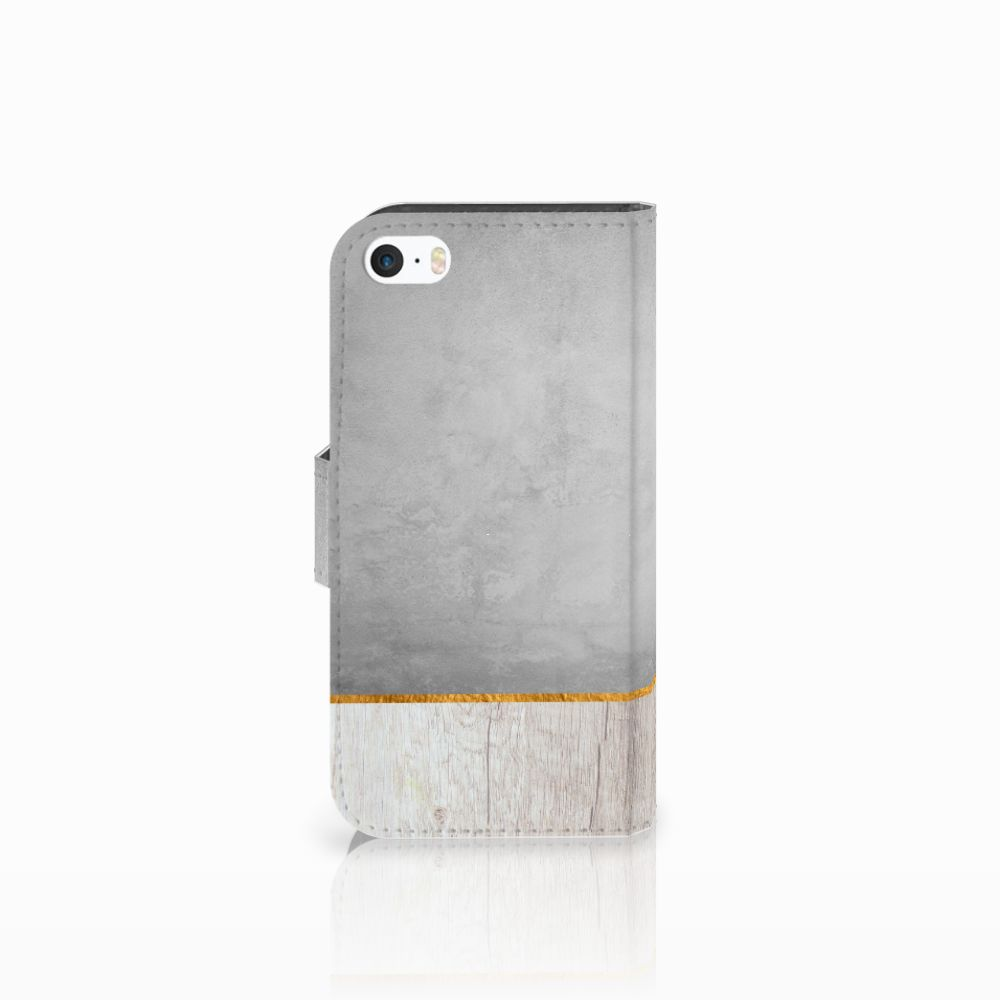 Apple iPhone 5 | 5s | SE Book Style Case Wood Concrete
