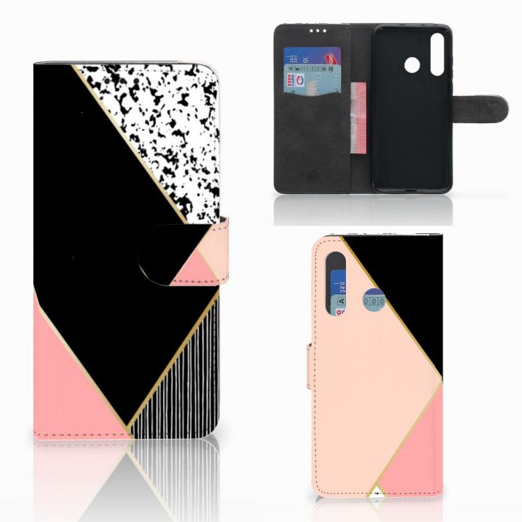 Huawei Nova 4 Bookcase Zwart Roze Vormen