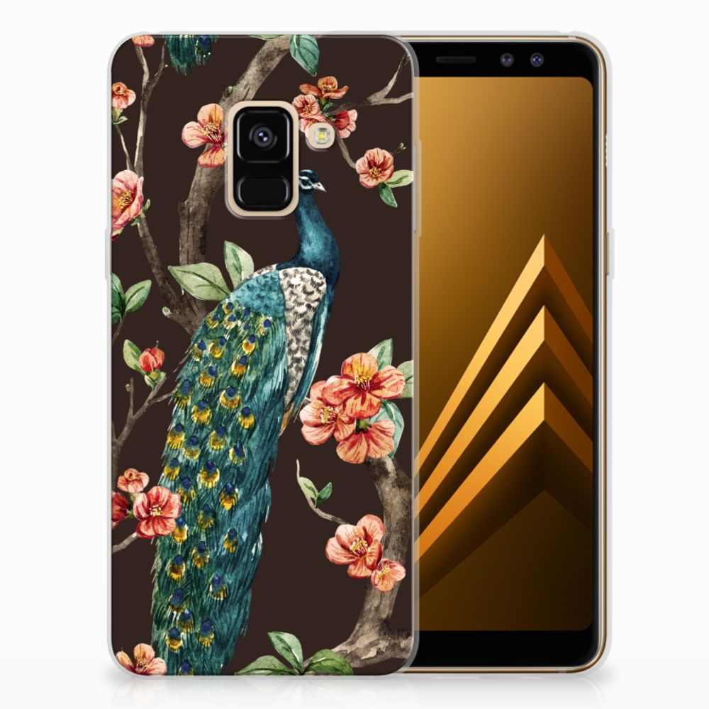 Samsung Galaxy A8 (2018) TPU Hoesje Design Pauw met Bloemen