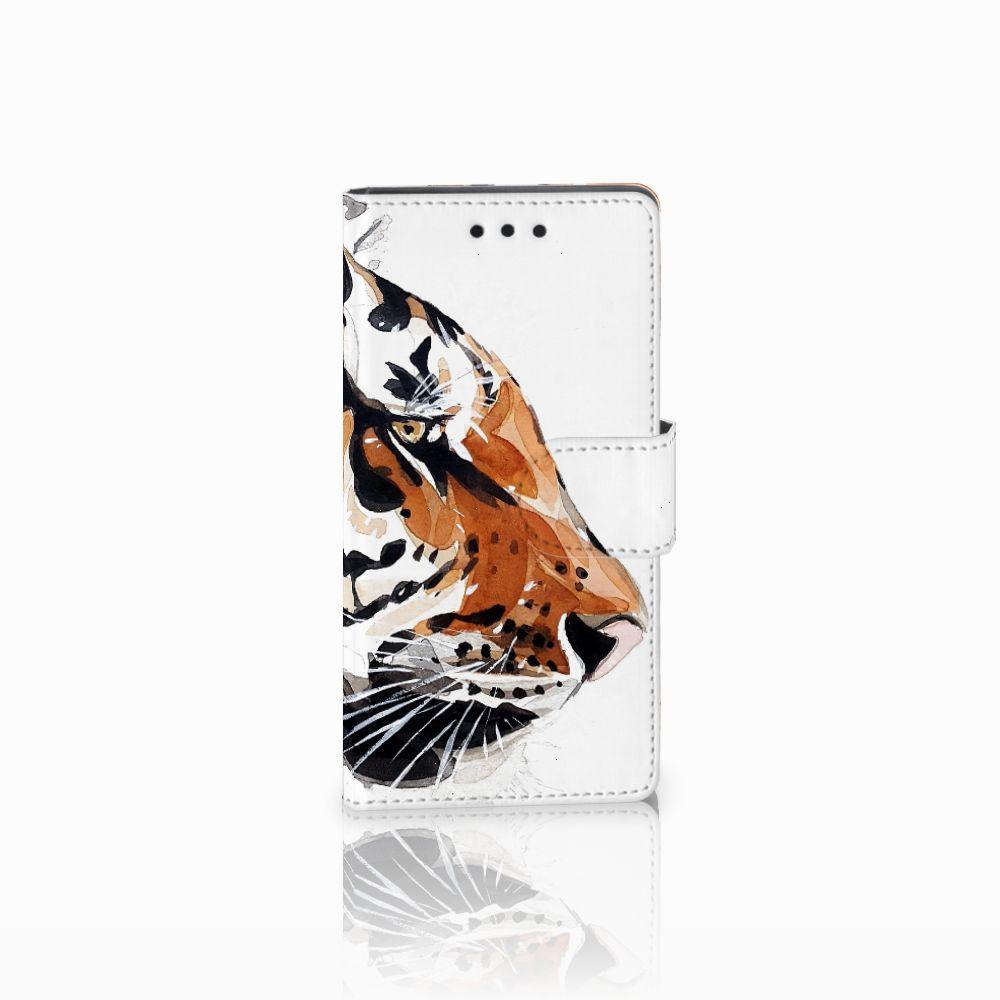 Sony Xperia Z5 Compact Uniek Boekhoesje Watercolor Tiger