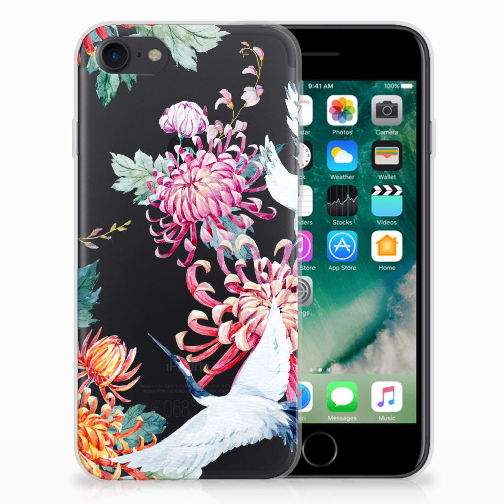 Apple iPhone 7 | 8 TPU Hoesje Bird Flowers