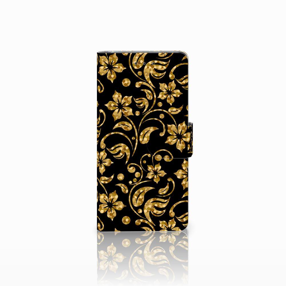 Samsung Galaxy Grand Prime | Grand Prime VE G531F Boekhoesje Design Gouden Bloemen