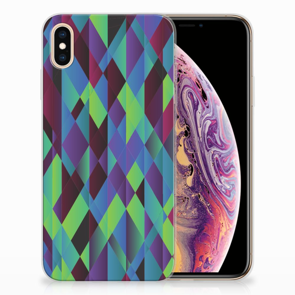 Apple iPhone Xs Max TPU Hoesje Design Abstract Green Blue