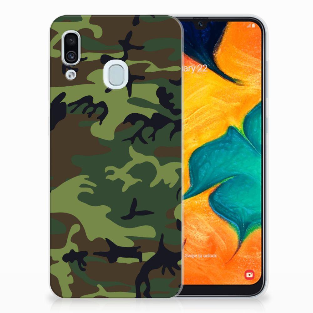 Samsung Galaxy A30 TPU Hoesje Design Army Dark