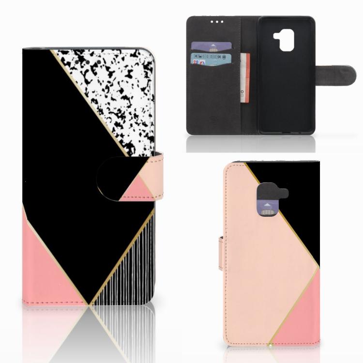 Samsung Galaxy A8 2018 Bookcase Zwart Roze Vormen